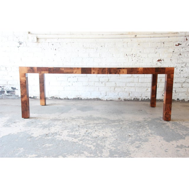 1970s Paul Evans for Directional Patchwork Burl Wood Parsons Extension Dining Table For Sale - Image 5 of 13
