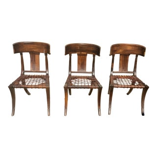Klismos Walnut Chairs - Set of 3 For Sale