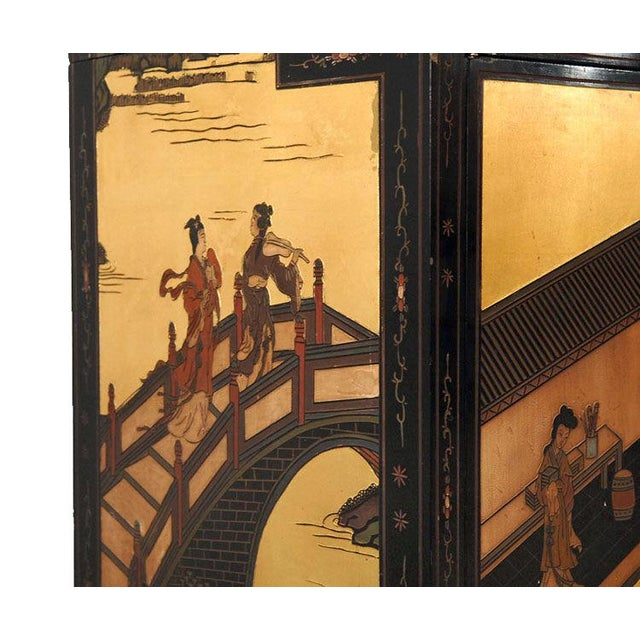 Monumental Black Lacquer and Gold Leafed Chinoiserie Breakfront - Image 4 of 6