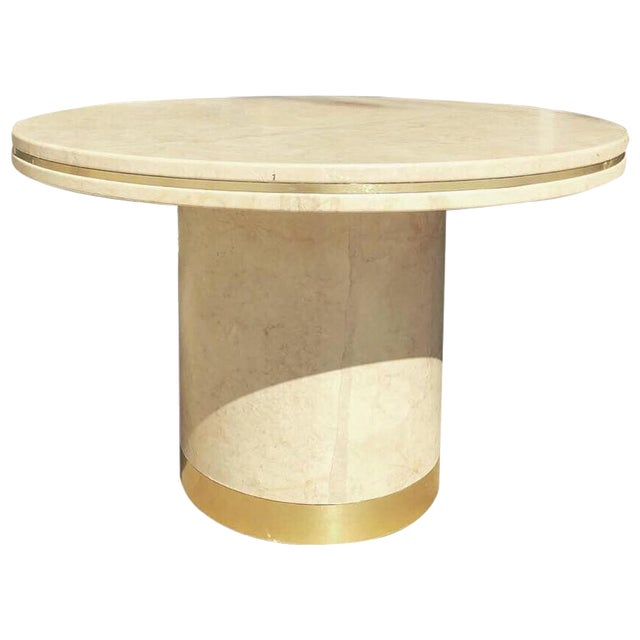 Steve Chase Designed Parchment and Brass Game or Dining Table For Sale