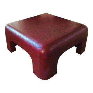 Linen-Wrapped Oxblood-Red Cocktail Table After Karl Springer For Sale