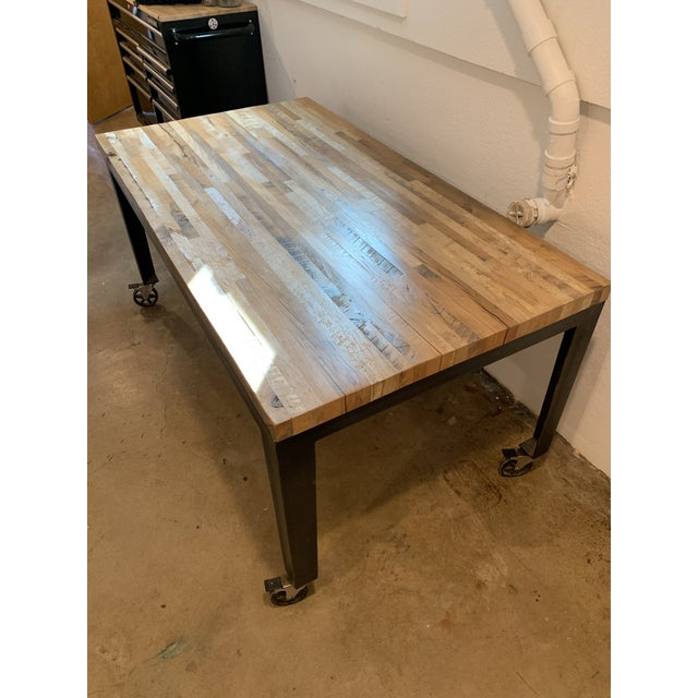 Brown Industrial Reclaimed Wood and Metal Writing Table For Sale - Image 8 of 11