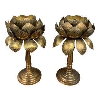 Vintage Etched Brass Parzinger Style Lotus Leaf Candle Holders - a Pair For Sale