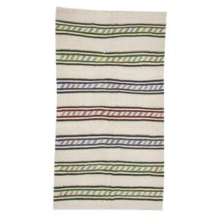 Striped Vintage Hemp Turkish Kilim Rug- 4′11″ × 9′ For Sale