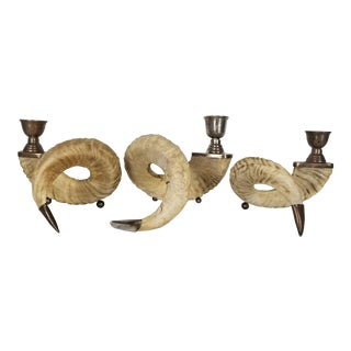 Stunning Rams Horn and Silver Fittings Candle Holders - Set of 3 For Sale