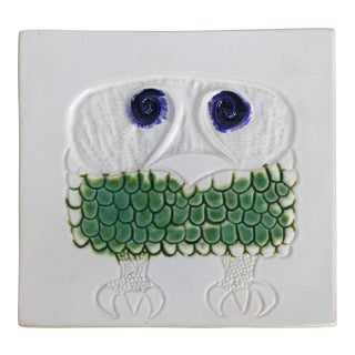 Mid-century Modern Ceramic Tile of an owl by David Gil of Bennington Potters of Vermont