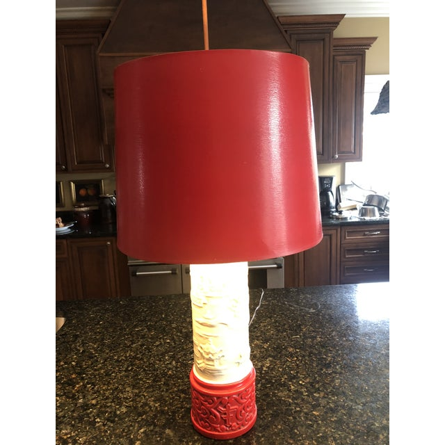 1960s Mid-Century Asian Porcelain Table Lamp, Jade Colored Body For Sale - Image 9 of 10