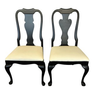 Queen Anne Chairs With Matte Black Finish and Faux Leather Upholstery- a Pair For Sale