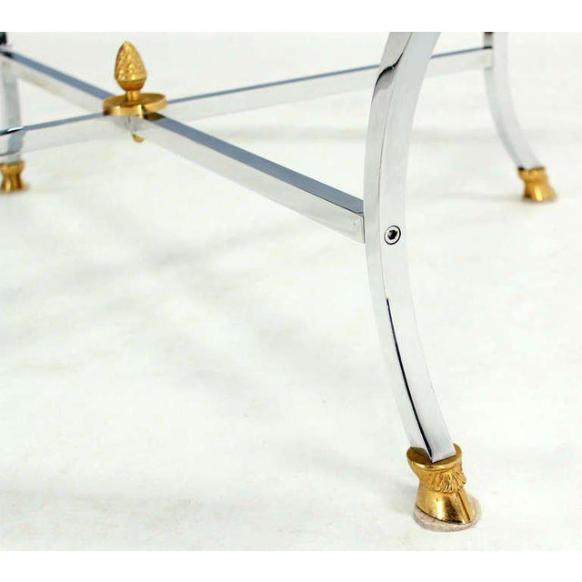 "Hoof Brass Feet Chrome and 3/4"" Glass Square Coffee Table For Sale - Image 4 of 10"
