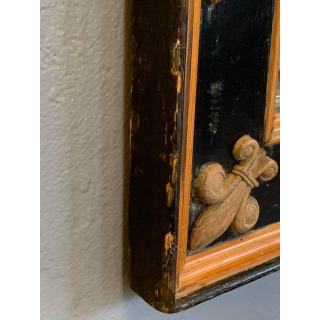 1940s Carved Wood Art Nouveau Mirror With Fleur-DI-Lis For Sale - Image 5 of 13