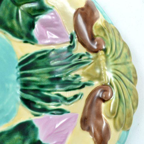 Vintage Hand Painted Majolica Oval Platter, Marked Jd For Sale In Houston - Image 6 of 12
