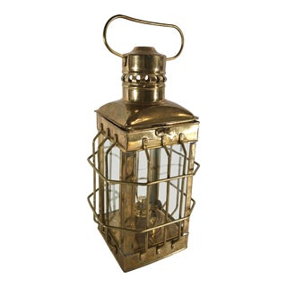 Traditional Maritime Caged Brass Lantern Oil Lamp For Sale