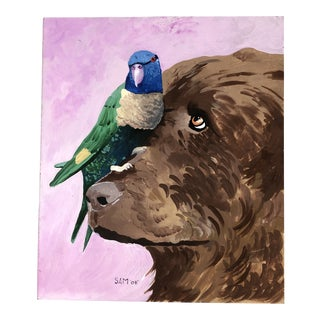 """Contemporary Original """"Lab With His Pet Parrot """" Painting For Sale"""