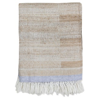 Indian Handwoven Linen and Raw Silk Throw in Oatmeal, Ivory and Light Blue For Sale