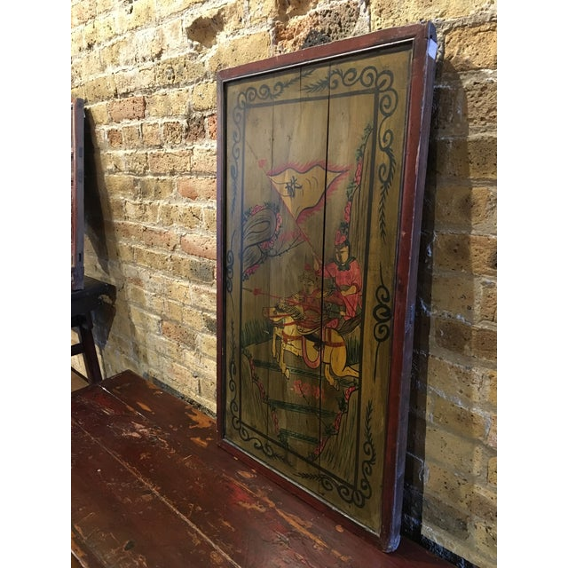 Chinese Painted Wood Panel For Sale - Image 4 of 5