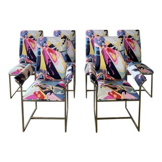 Milo Baughman Dining Chairs in Diane Von Furstenberg for Scalamandre - Set of 2 Side Chairs For Sale