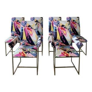 Milo Baughman Dining Chairs in Diane Von Furstenberg for Scalamandre - Set of 6 For Sale