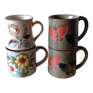 Stoneware Butterfly & Floral Mugs - Set of Four