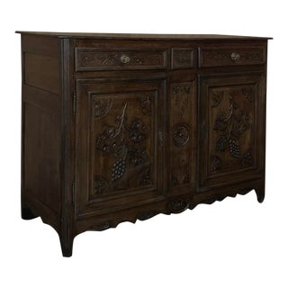 18th Century Country French Hand Carved Oak Buffet With Grapes For Sale