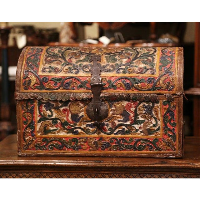 18th Century German Gothic Painted Decorative Bombe Box Wedding Trunk For Sale In Dallas - Image 6 of 13