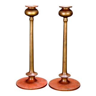Arts & Crafts Bronze Jarvie School Mission Style Candlesticks - a Pair For Sale