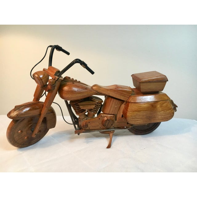 Mid-Century Modern Wooden Model Motorcycle Replica For Sale - Image 9 of 9