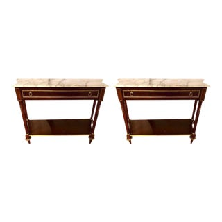Louis XVI Style Mahogany Consoles Fashioned after Maison Jansen - a Pair