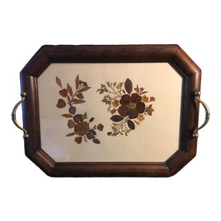 Vintage Italian Wood and Glass Tray by Farris Uber For Sale