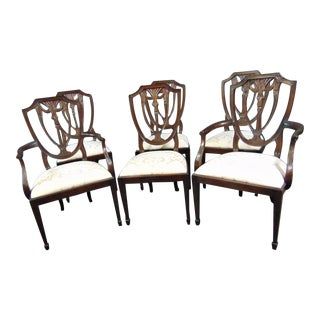 Henkel Harris Hepplewhite Carved Mahogany Shield Back Dining Chairs - Set of 6 For Sale