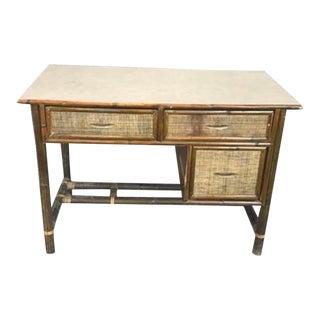 Mid-Century Modern Rattan Desk For Sale