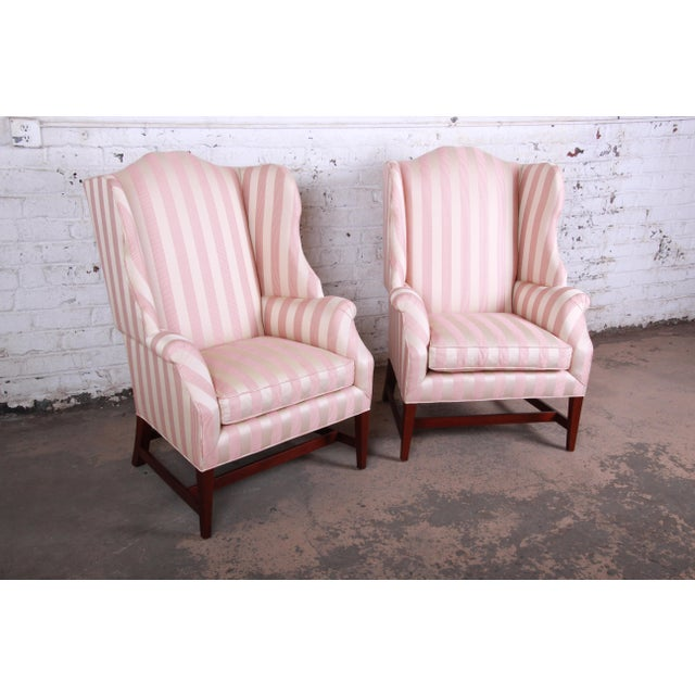 Baker Furniture Company Baker Furniture Wingback Lounge Chairs, Pair For Sale - Image 4 of 13