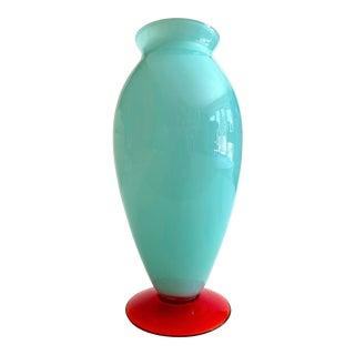 Vintage 1980's Post Modern Aqua Tiffany Blue & Red Orange Hand Blown Art Glass Contemporary Vase For Sale