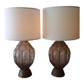 Mid-Century Dusty RoseGlass & Brass Table Lamps - A Pair For Sale