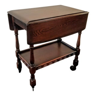 Vintage English Dark Oak Jacobean Style Drop Leaf Bar Cart / Tea Trolley With Frieze Drawer For Sale