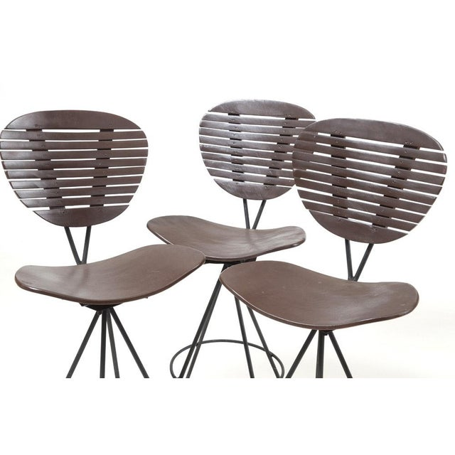 Contemporary Mid-Century Modern Wood and Wrought Iron Bar Stools - Set of 3 For Sale - Image 3 of 12