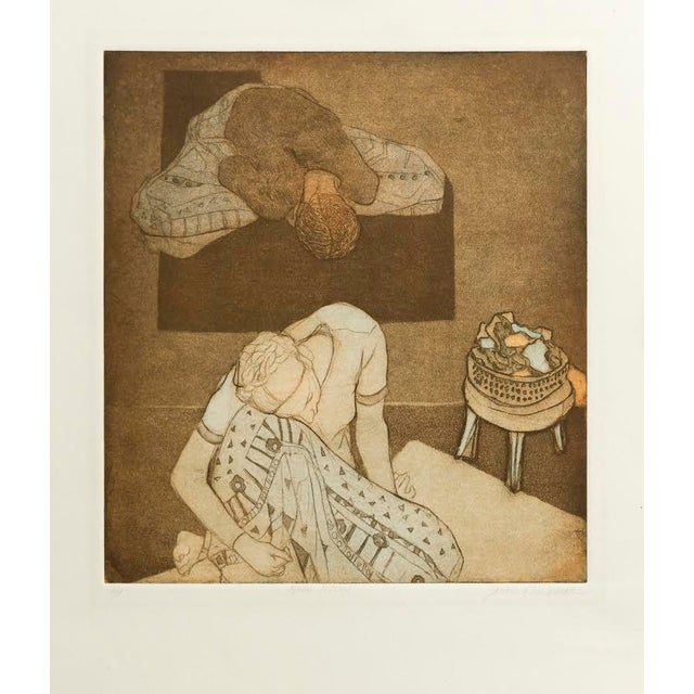 A seated figure, resting her head on her knee curls into her projected self, the pattern on her skirt evoking an alien...