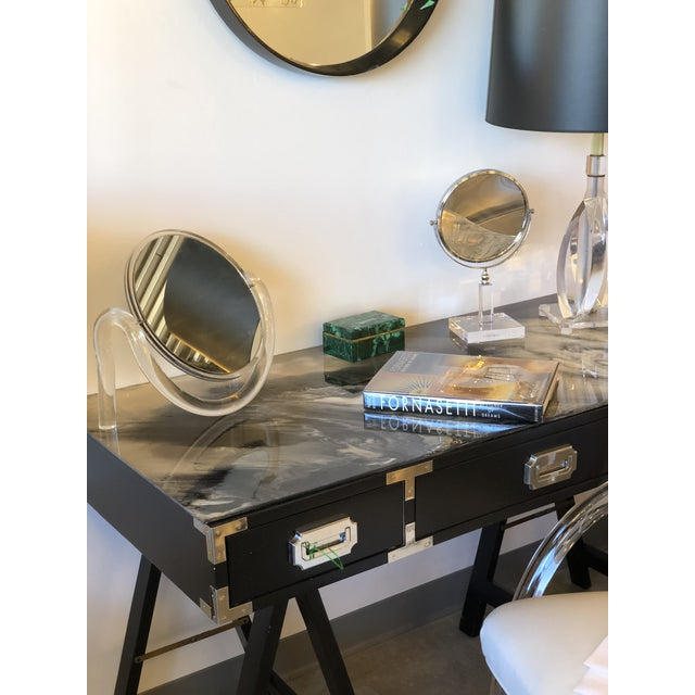 Mid Century Modern Lacquered Black Campaign Desk with Chrome and Brass Hardware - Image 7 of 10