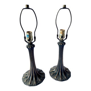 Bronze Art Nouveau Tiffany Style Table Lamps - a Pair For Sale