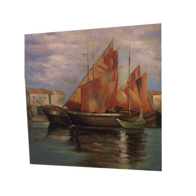 Mid-Century Modern Sailboats Off the Coastline Painting Mid Century France For Sale - Image 3 of 7