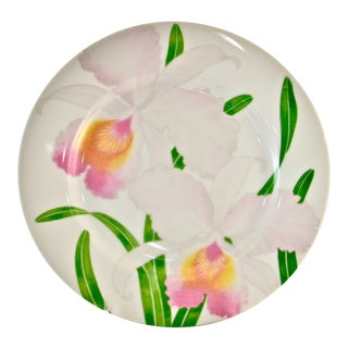 Pink Orchid Plates - Set of 2 For Sale