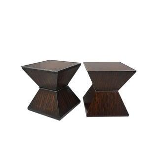 Art Deco Alden Parkes Ebony Pyramid End Tables - a Pair For Sale