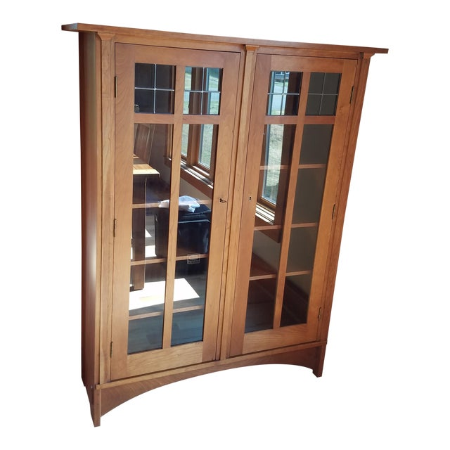 Stickley Cherry Leaded Glass Double Door Bookcase For Sale