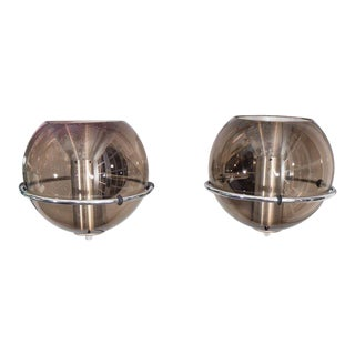 Pair of 1970s RAAK Smoke Glass Globe Sconces For Sale