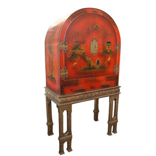 Red Lacquer Gilt Japanned Cabinet Dry Bar Bookcase Curio Buffet Sideboard Domed For Sale