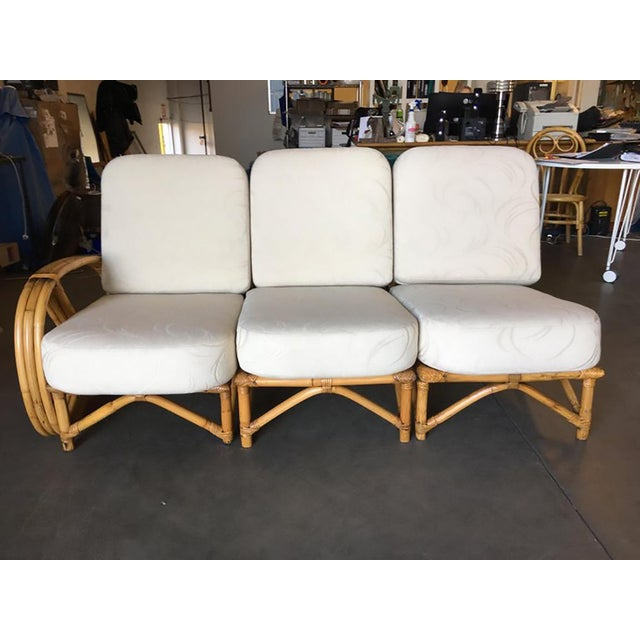 Bamboo Restored 3/4 Round Pretzel Rattan Three Seater Sofa With Two Tier Table For Sale - Image 7 of 11