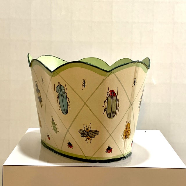 Vintage Tole Painted Insect Motif Scalloped Edge Metal Planter For Sale - Image 4 of 12