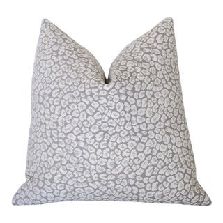 Grey Beige Leopard Chenille Pillow Cover 22x22 For Sale