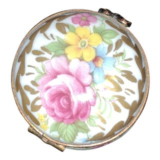 Early 20th Century Limoges, France Round Floral Box For Sale