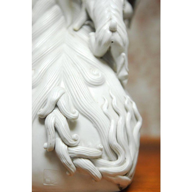 Pair of Chinese Dehua Blanc de Chine Foo Dogs For Sale - Image 9 of 10