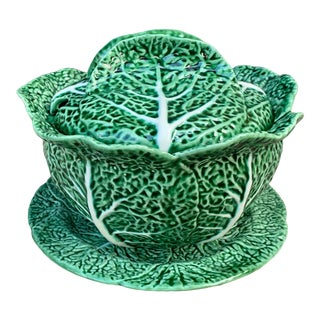 Bordallo Pinheiro Majolica Green Cabbage Lidded Tureen & Underplate For Sale